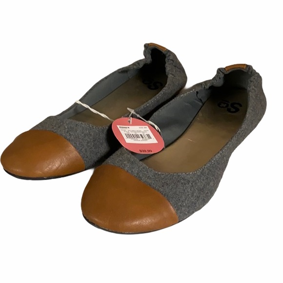 So Wool Blend Leather Toe Ballet Flats NWT